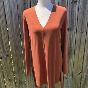 Trouve Long Sleeve Brown V Neck Tunic